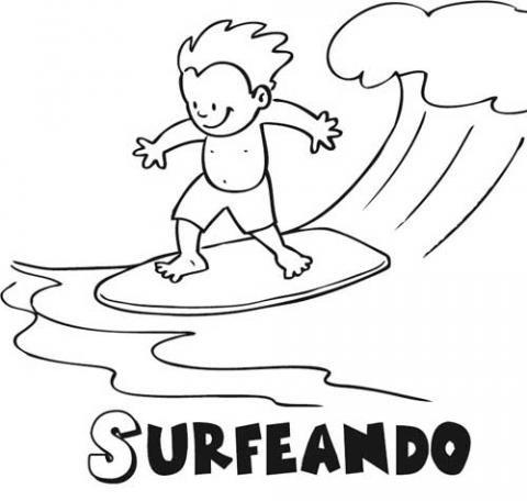 Niño surfeando: Dibujos para colorear