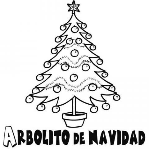 Imprimir Dibujo para colorear de rbol de Navidad decorado
