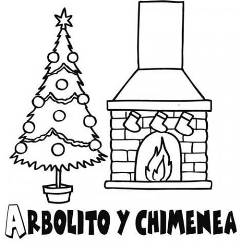 rbol de Navidad y chimenea Dibujos para colorear con los nios