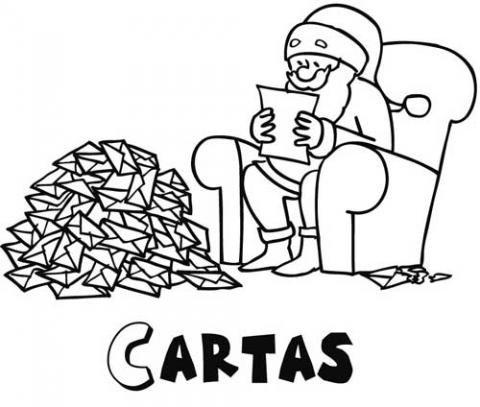 Dibujo De Papa Noel Leyendo Cartas De Los Ninos