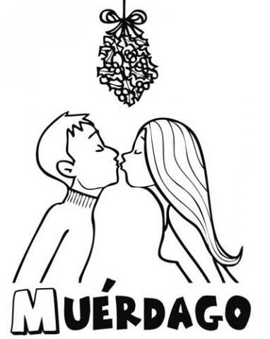 Dibujo de un beso bajo el muérdago de Navidad