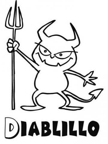 Dibujo Infantil Para Pintar De Diablillo