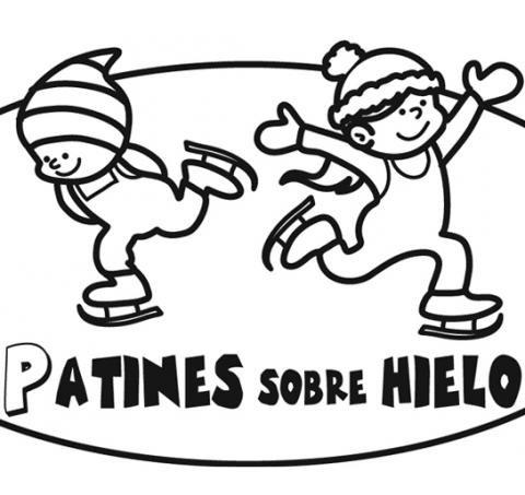 Dibujo infantil de niños patinando en Navidad
