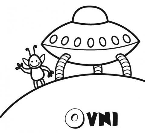 Dibujo para imprimir y colorear de un ovni y marciano