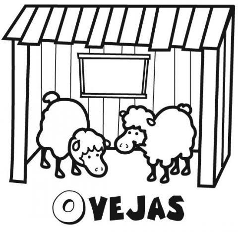 Dibujo infantil de ovejas para colorear