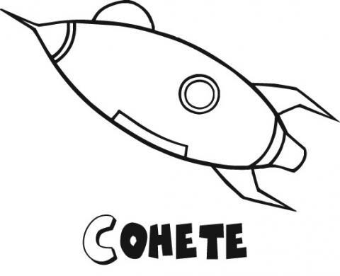 Dibujos gratis de un cohete espacial para imprimir y colorear