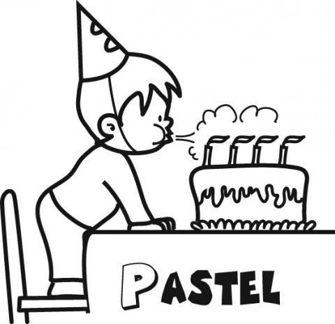 Dibujo de un pastel de cumpleaños para colorear con los niños