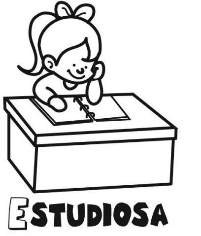 Dibujo para imprimir y pintar de una niña estudiando