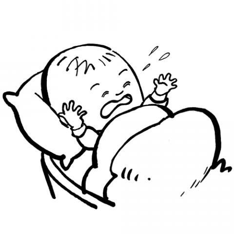 Dibujos para colorear con los niños de un bebé llorando