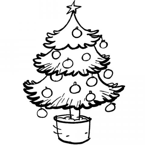 Árbol de Navidad en maceta: Dibujo para colorear con los niños