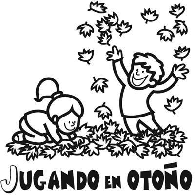 Dibujo de niños en otoño. Imágenes de naturaleza para colorear