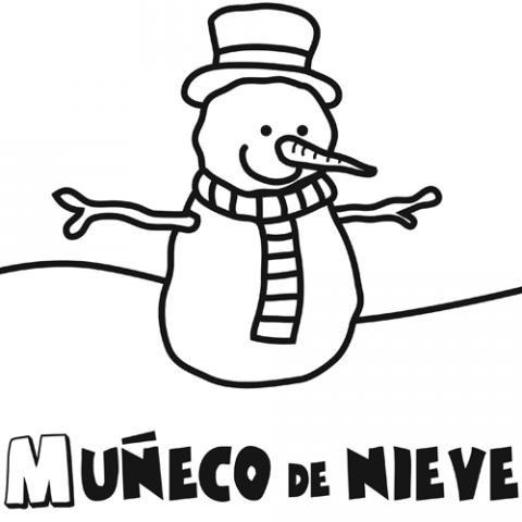 Dibujo para colorear de un mu eco de nieve dibujo de invierno - Munecos de nieve para dibujar ...