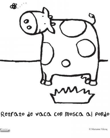Dibujo De Vaca Para Colorear Con Los Niños