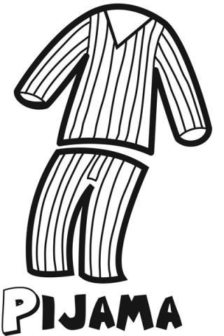 Dibujo de un pijama para imprimir y colorear con niños