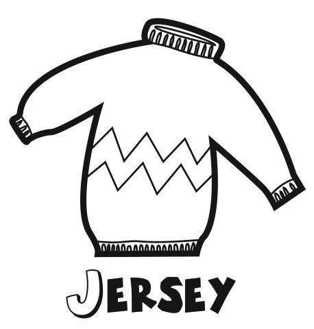 Dibujo para imprimir y pintar de un jersey. Dibujos de ropa