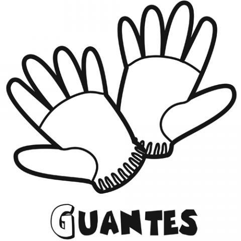 Dibujo de unos guantes. Imágenes de ropa de invierno para pintar