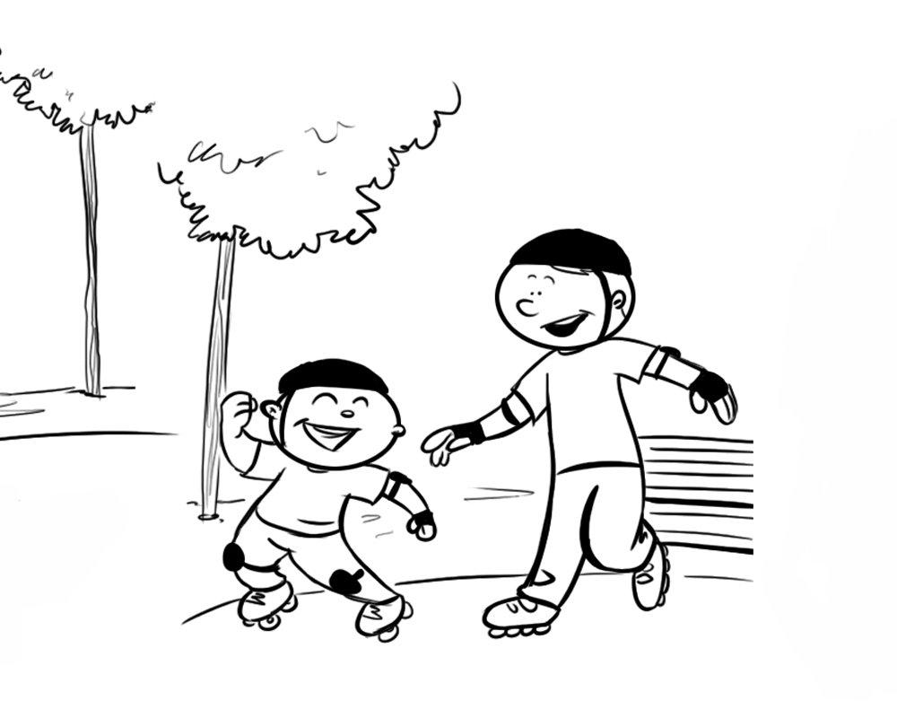 Niño patinando con su papá. Dibujo para colorear