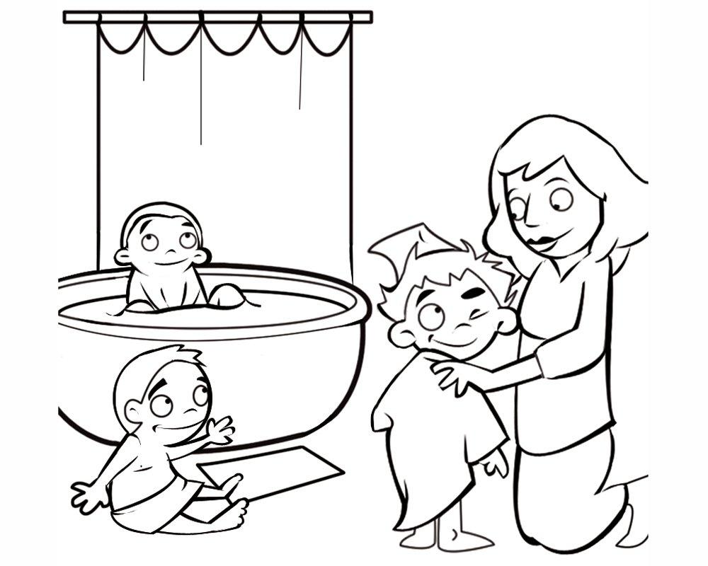 Hora del baño: Dibujos para colorear