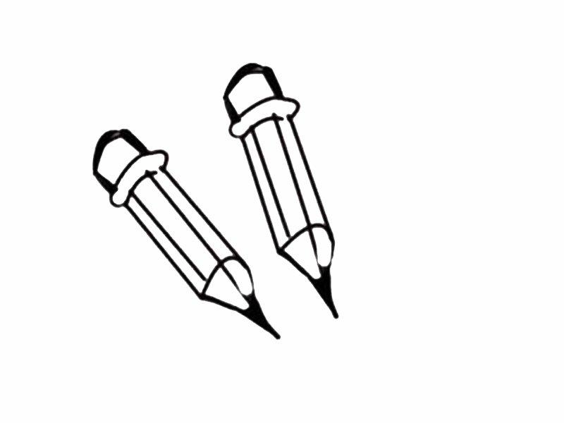 Dibujo infantil para colorear de lápices. Dibujos del colegio para pintar