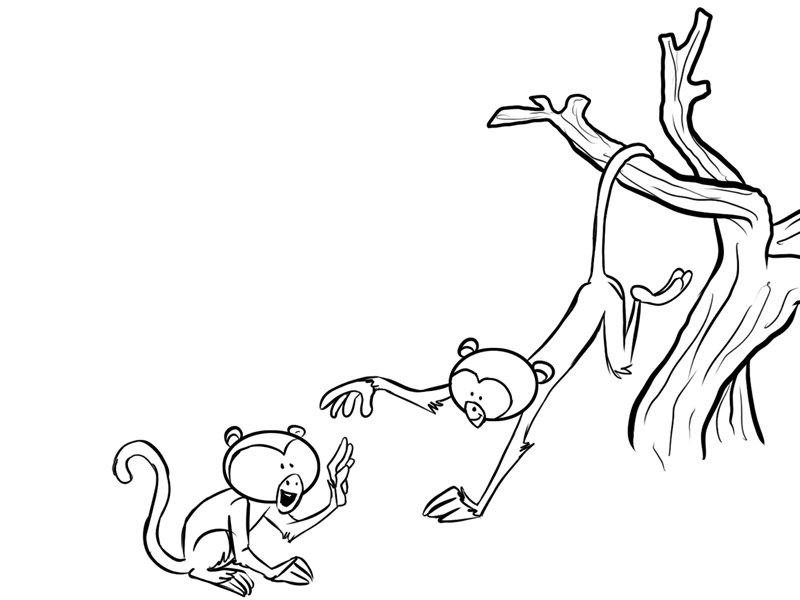 Monos jugando en un rbol Dibujos para colorear