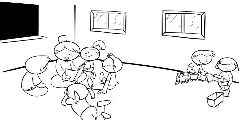 Imprimir: Dibujo para colorear o pintar de niños en clase