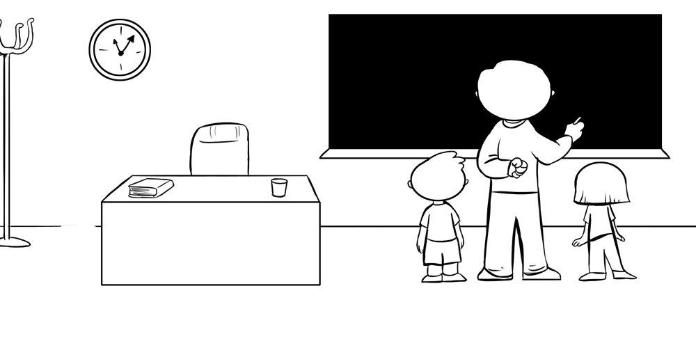 Dibujo de profesor y alumnos en clase para colorear gratis