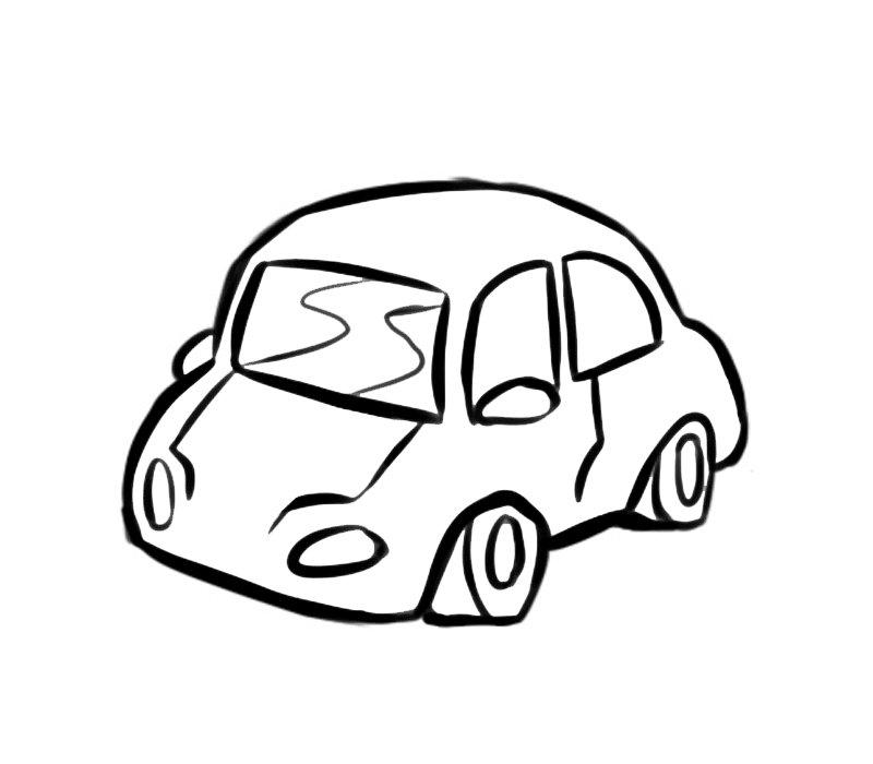 Dibujo para imprimir y colorear de un automóvil o coche con los niños