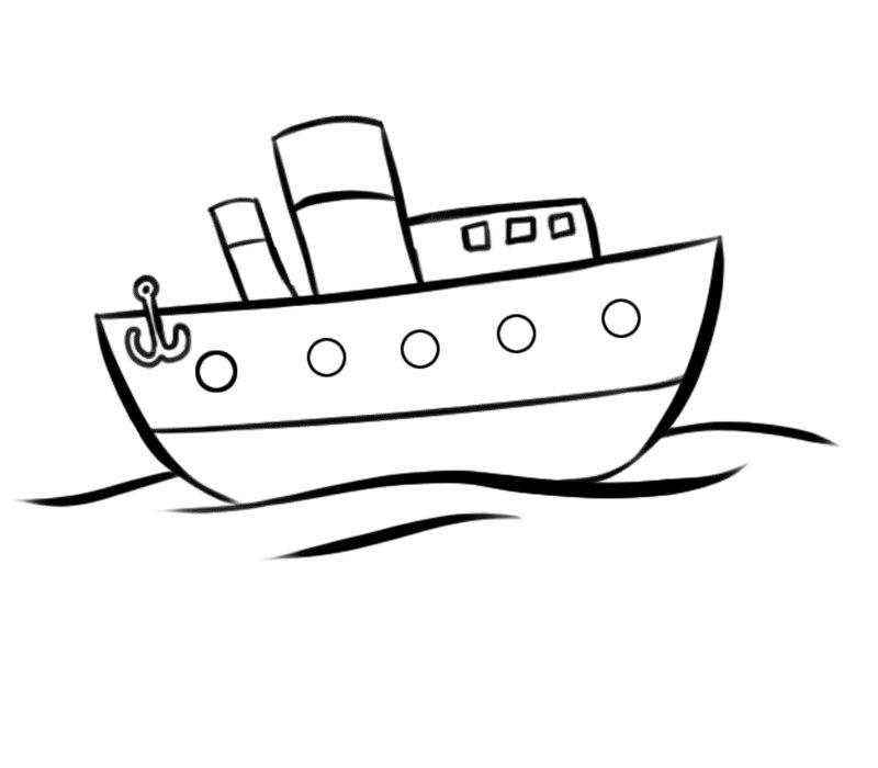 de barco navegando en el mar para colorear