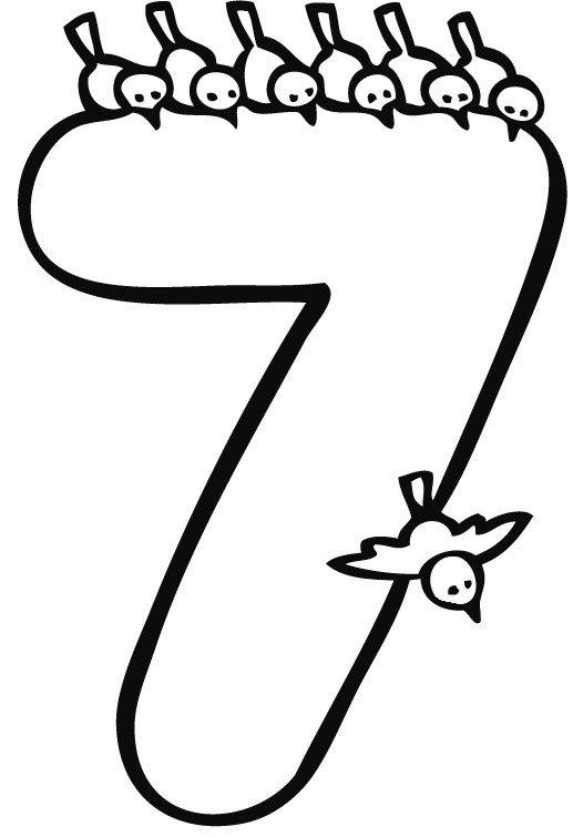 Dibujo del número 7 para colorear. Imágenes gratis de números