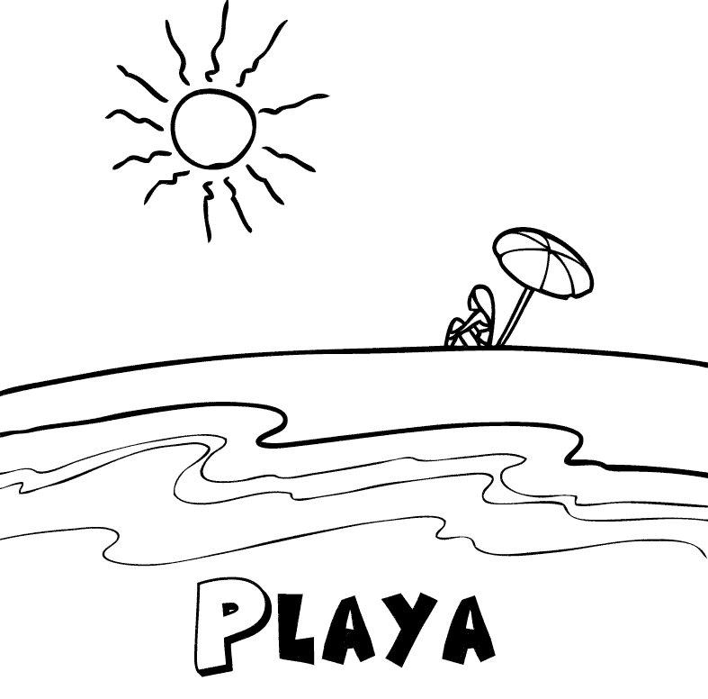 Playa en verano: Dibujos para colorear