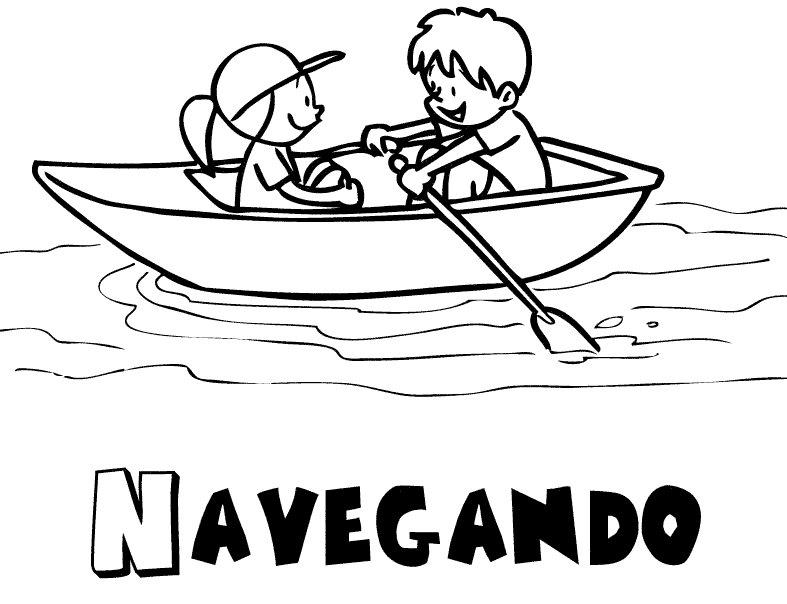 Alberca Para Colorear: Niños Navegando En Verano: Dibujos Para Colorear