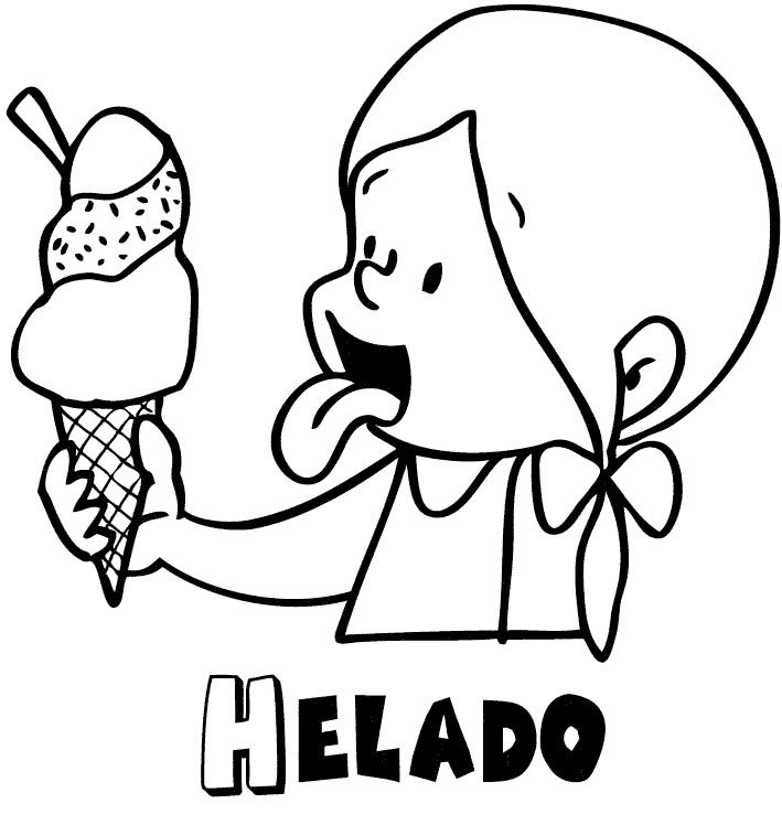 Imprimir Dibujo para colorear de nia comiendo helado en verano
