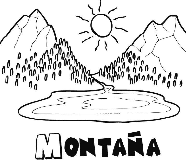 Montaña en verano: Dibujos para colorear