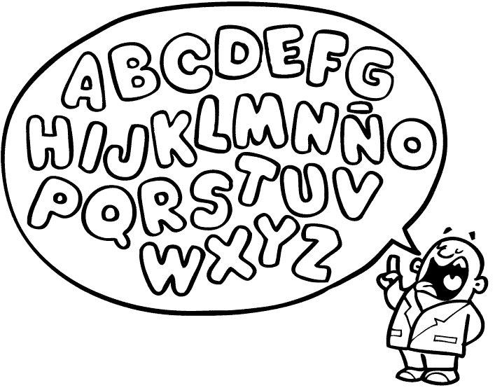 Dibujo del abecedario para imprimir y colorear. Dibujos de letras