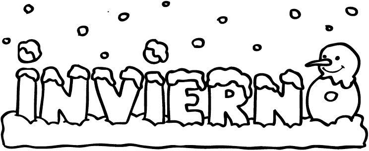 Dibujo infantil gratis para colorear con la palabra invierno