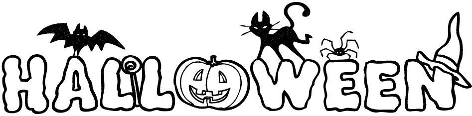 Palabra Halloween. Dibujo infantil para colorear