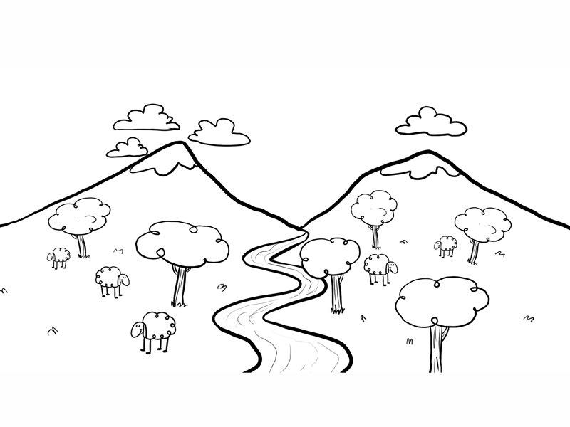 Dibujo para pintar un paisaje con río, imagen de ...