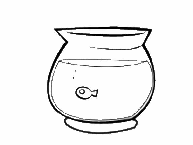 Pecera con pez pequeño: Dibujos para colorear