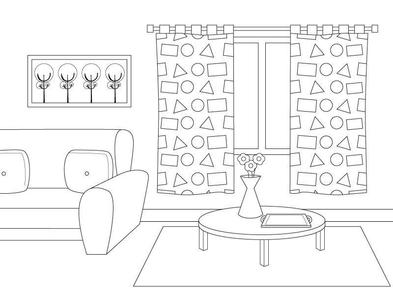 Dibujos para pintar de habitaciones de la casa: sala de estar