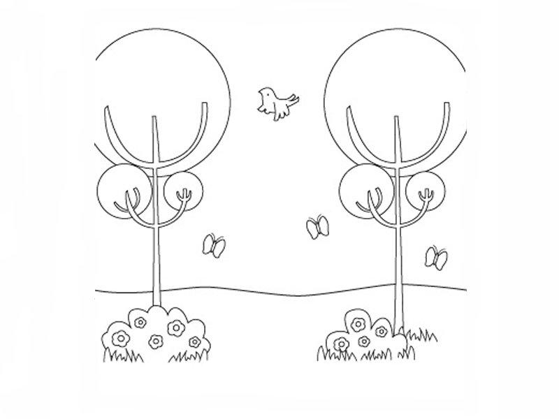 rboles en primavera Dibujos para colorear