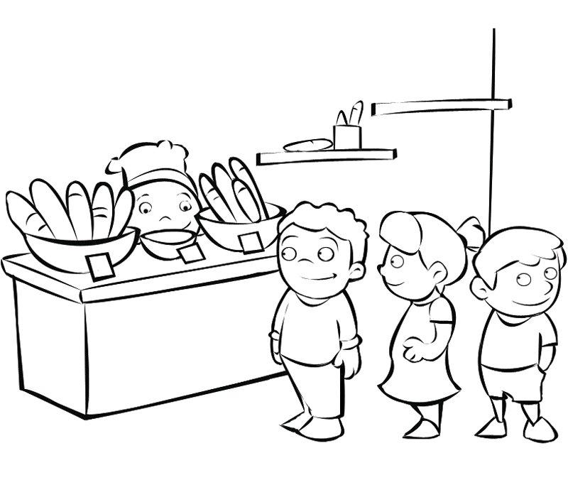 gratis para pintar de niños haciendo cola en la panadería
