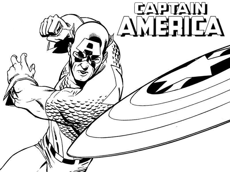 Dibujos del superhéroe Capitán América para imprimir y colorear