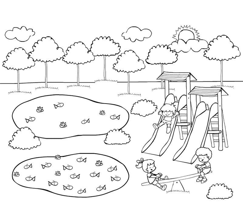 Dibujo de niños jugando en el parque para pintar