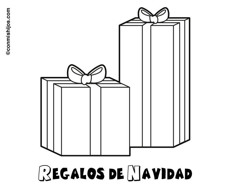 Imprimir: Dibujo infantil de regalos de Navidad para imprimir y pintar