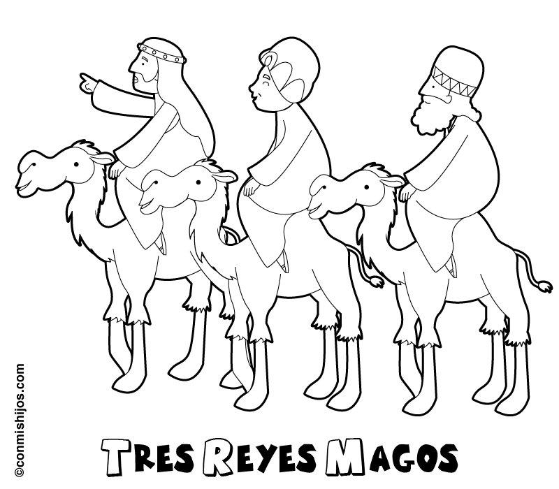 Dibujo de los Tres Reyes Magos para pintar