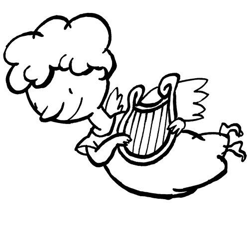 Ángel tocando el arpa. Dibujo de Navidad