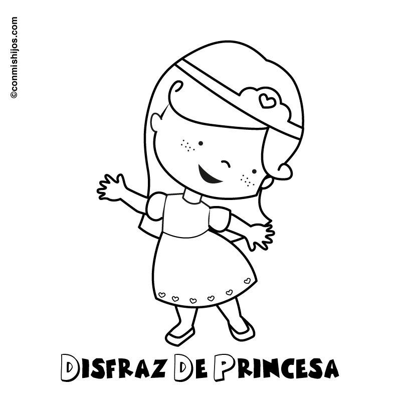 Dibujo de disfraz de princesa para imprimir y colorear con los niños