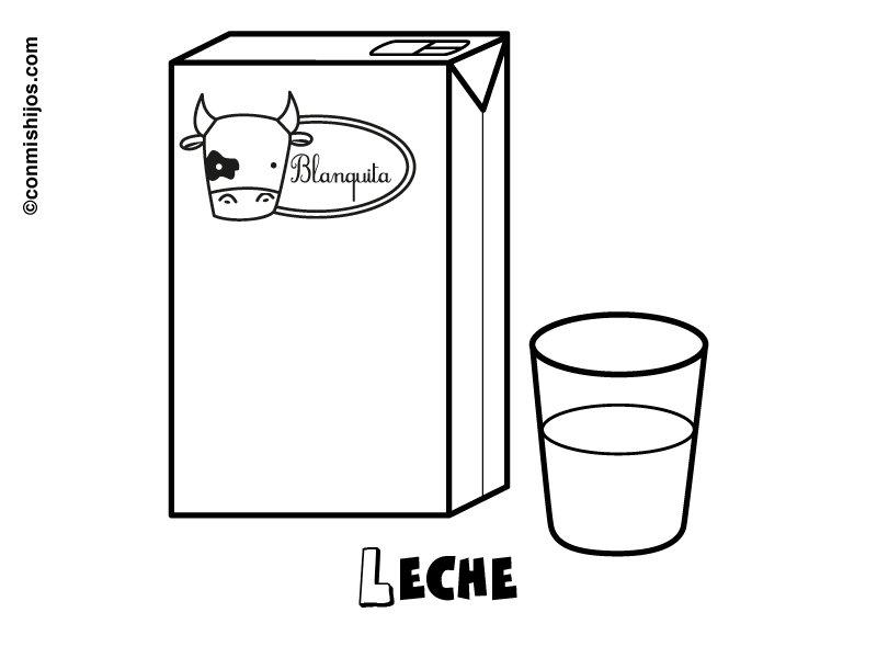 Dibujo para imprimir y colorear de un cartón de leche y un vaso