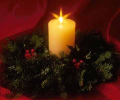 Postal virtual de una vela de Navidad
