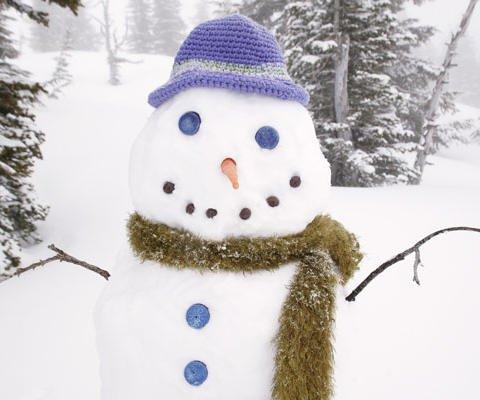 Tarjeta virtual de un muñeco de nieve en Navidad